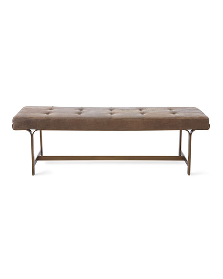 Cordell Leather Tufted Bench