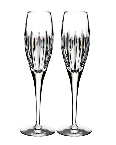 Waterford Crystal Mara Crystal Champagne Flutes, Set of
