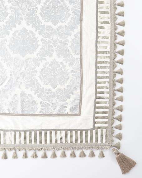 Divine Designs Ivory & Silver Square Table Topper