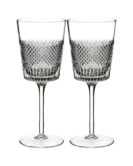 Waterford Crystal Diamond Line Wine Glasses, Set of