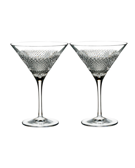 Waterford Crystal Diamond Line Martini Glasses, Set of