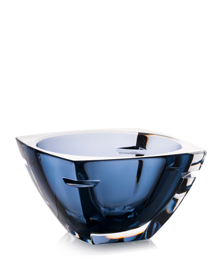 W Crystal Bowl, Blue, 7""