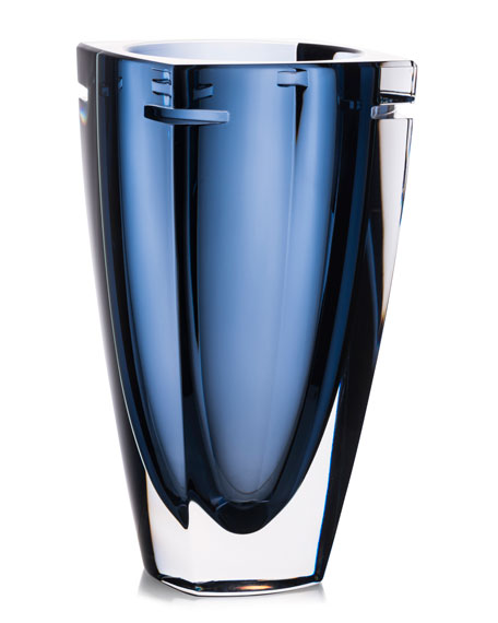 Waterford Crystal W Crystal Vase, Blue, 10
