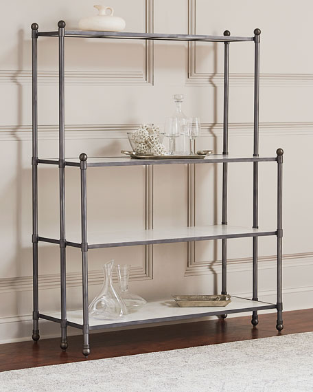 Erasmus Etagere with Marble Shelves