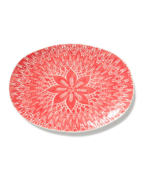 Viva Red Lace Large Oval Platter