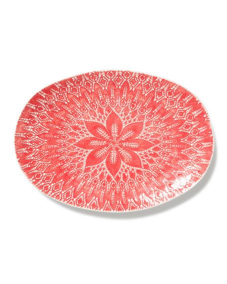 Viva Red Lace Large Oval Platter