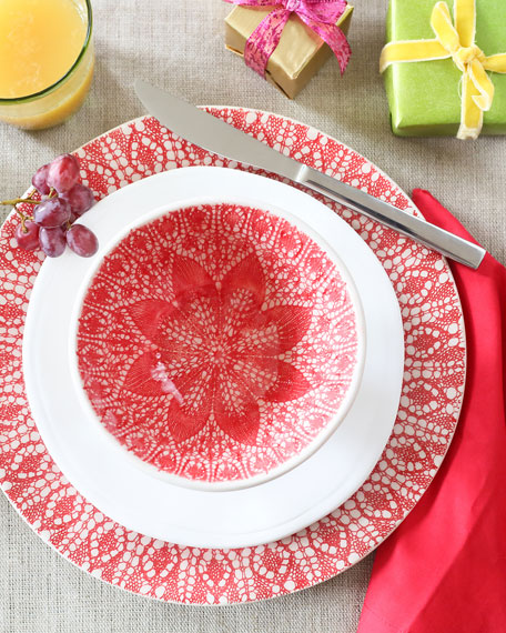 Viva Red Lace Medium Serving Bowl