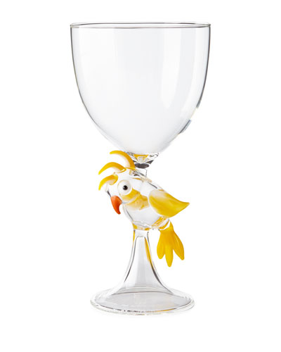 Parrot Stem Glass  Yellow