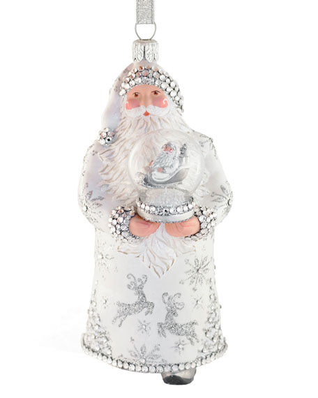 Swirling Clause Holding Snowglobe Ornament