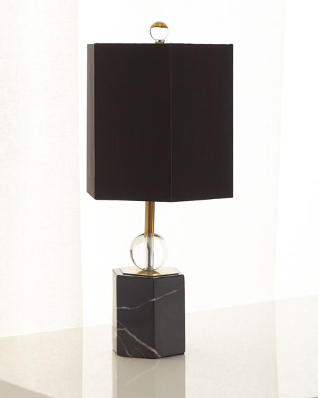 """Marchesa Marble Hex Accent Lamp, 18.5"""""""