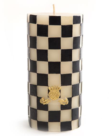 MacKenzie-Childs Check Pillar Candle, Black/White