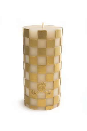 MacKenzie-Childs Check Pillar Candle, Gold/White