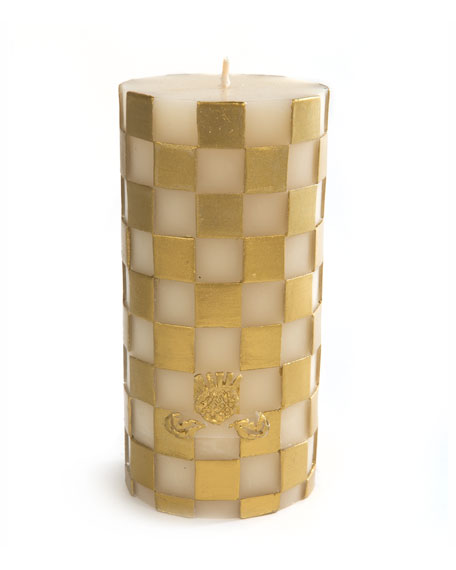 MacKenzie-Childs Check Pillar Candle, Gold/White