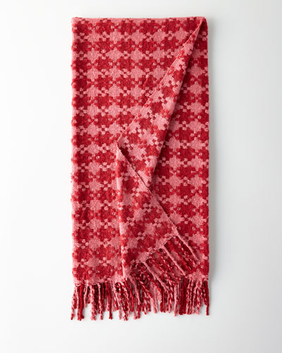 Houndstooth Throw, Rose