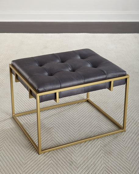 Colvin Quilted Leather Ottoman