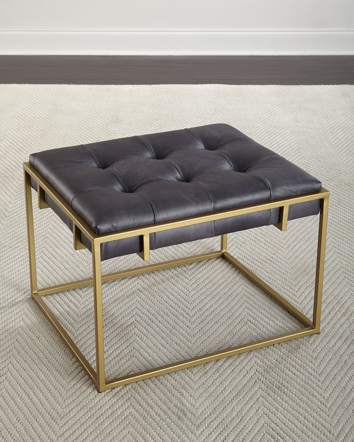 Colvin Quilted Leather Ottoman Neiman Marcus