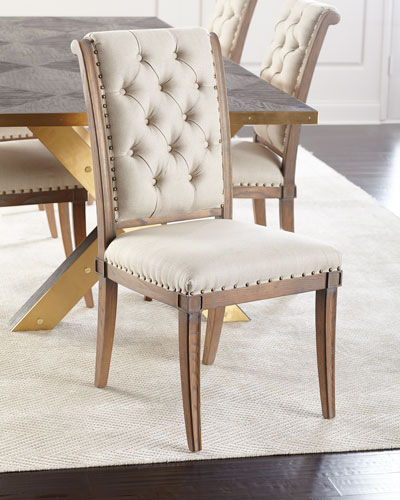 pair of gianna tufted dining chairs