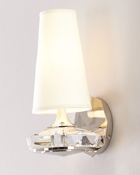 Santo Small Faceted Wall Sconce in Polished Nickel