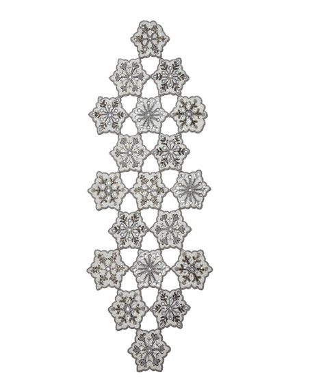 "Beaded Snowflake Table Runner, 16"" x 46"""