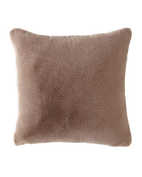 Dier Square Faux-Fur Pillow, Brown