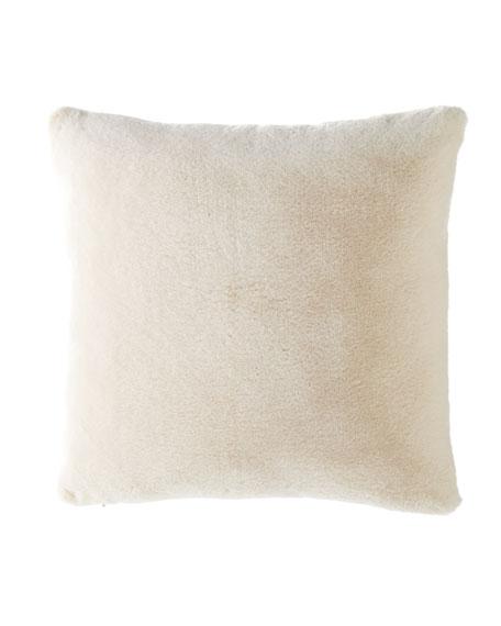 Dier Square Faux-Fur Pillow, Ivory