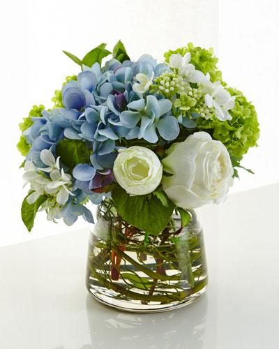 Hydrangea Rose Faux-Floral Arrangement