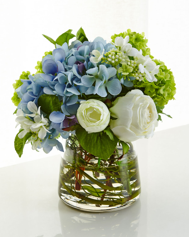 Faux Hydrangea Arrangement: NDI Hydrangea Rose Faux-Floral Arrangement