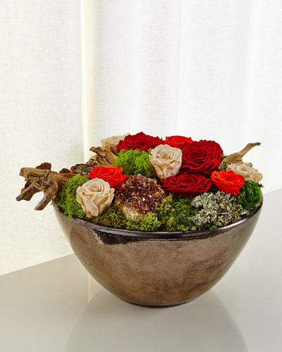Bronze Bowl Preserved Roses