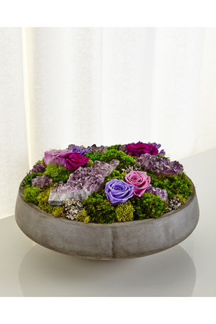 T&C Floral Company Concrete Bowl Preserved Rose