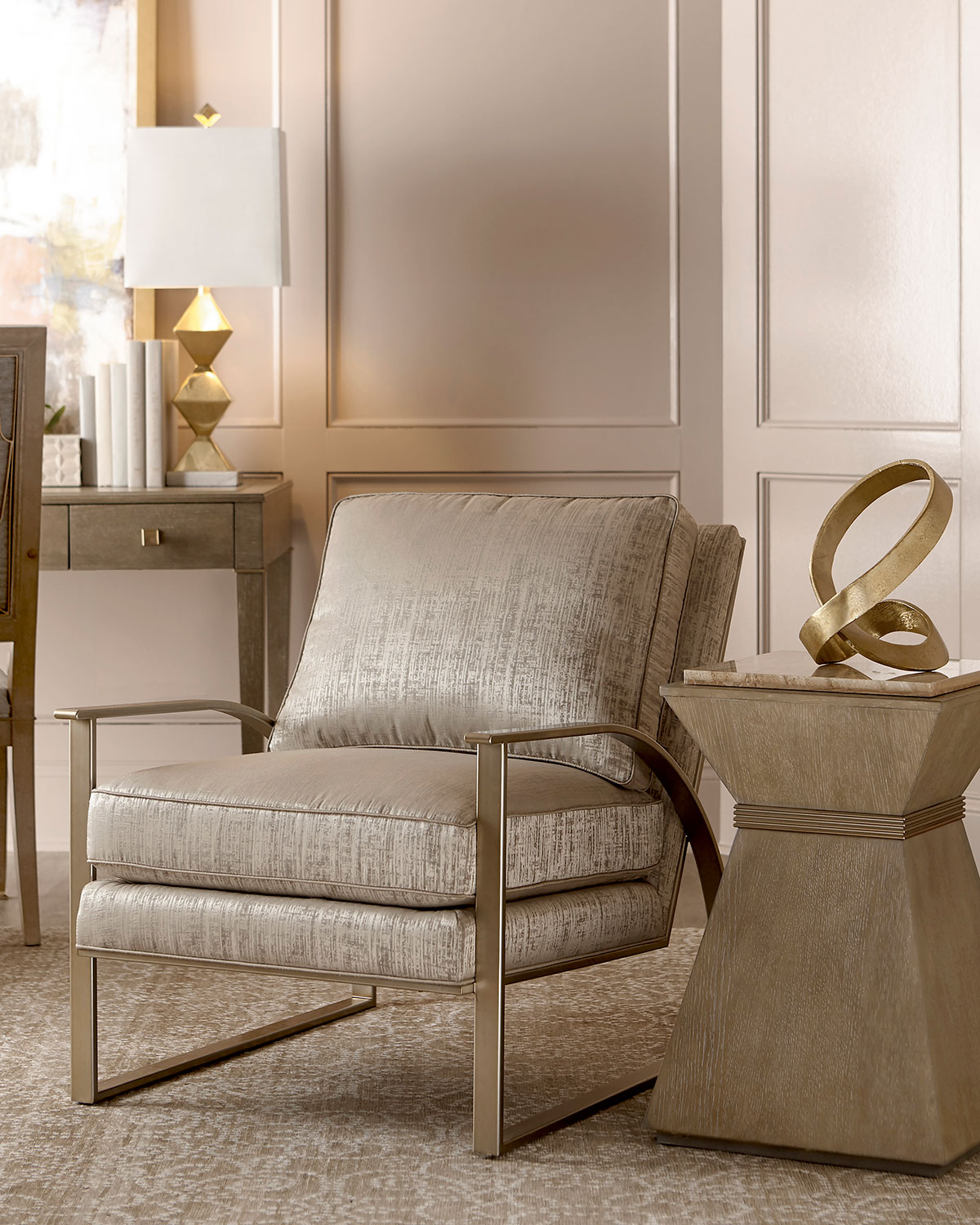 Nahla Metal And Upholstered Accent Chair Neiman Marcus