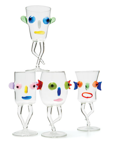 Blues Face Drinking Glass, Pink/Black