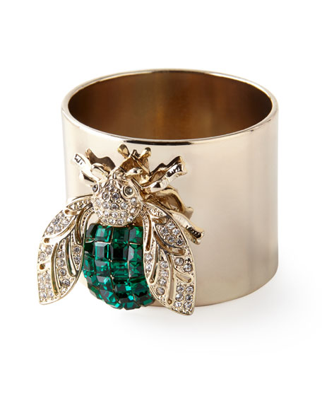Joanna Buchanan Emerald Sparkle Bee Napkin Rings, Set