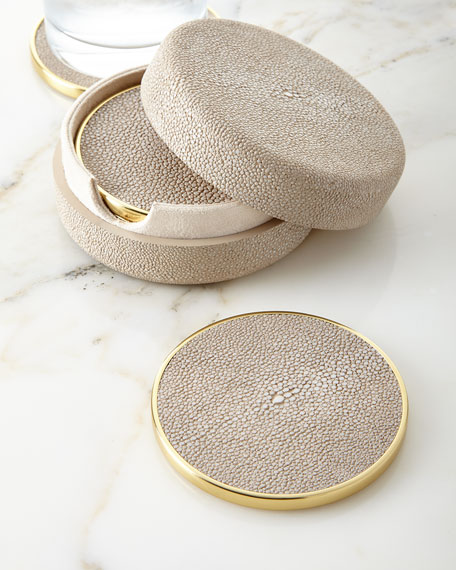 Faux-Shagreen Coasters