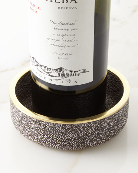 Faux-Shagreen Wine Coaster