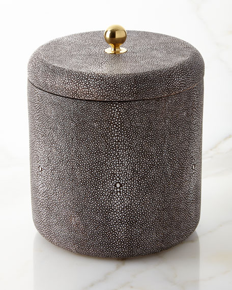 Faux-Shagreen Ice Bucket, Chocolate