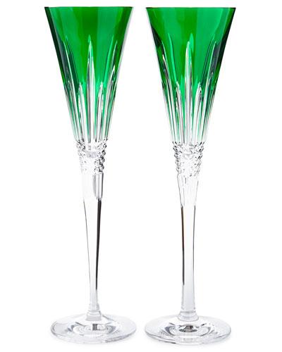 Lismore Diamond Toasting Flutes, Emerald, Set of 2