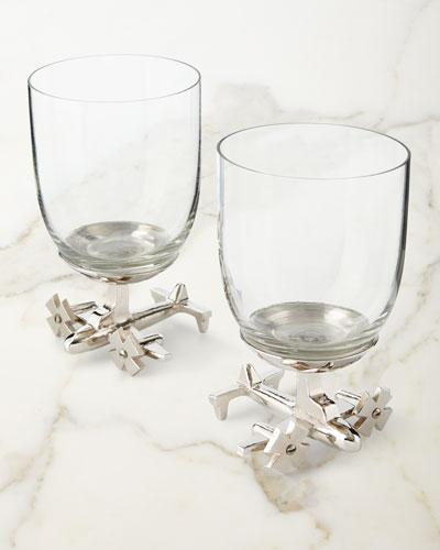 Airplane Wine Glasses, Set of 2