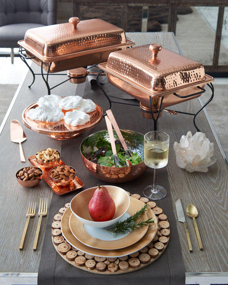 Copper Cake Plate with Server