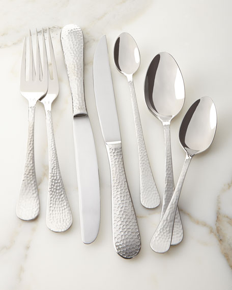 Wallace Silversmiths Euro Hammered 102-Piece Flatware Service