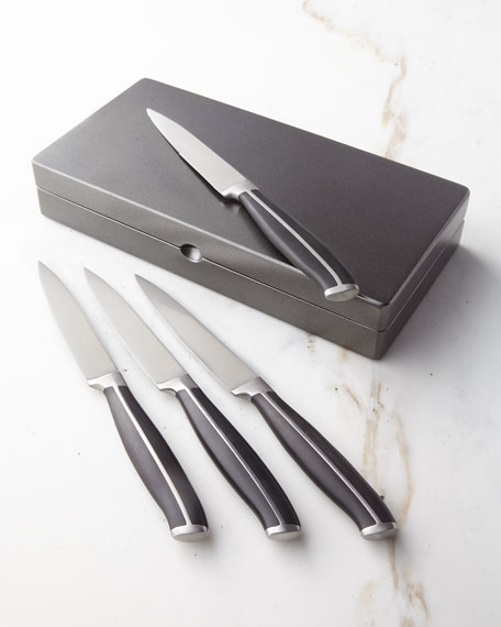 Fortessa Strip Serrated Steak Knives, Four-Piece Boxed Set