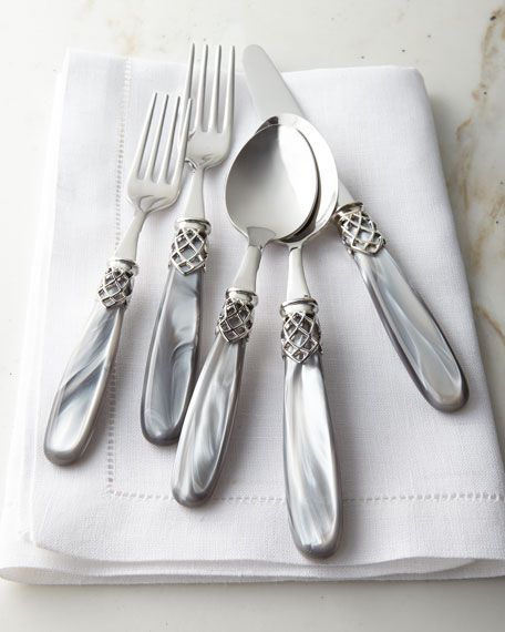 French Shine 20-Piece Flatware Service, Gray