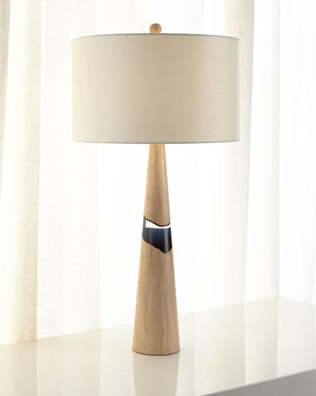 "Paloma Rubberwood Table Lamp, 35""T"