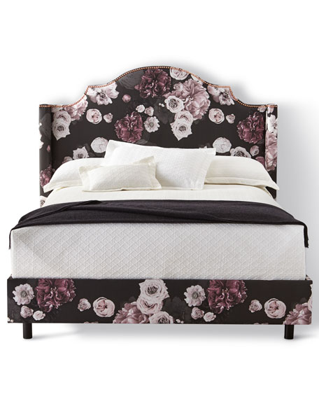 Carmen Floral Icy California King Bed, Black and