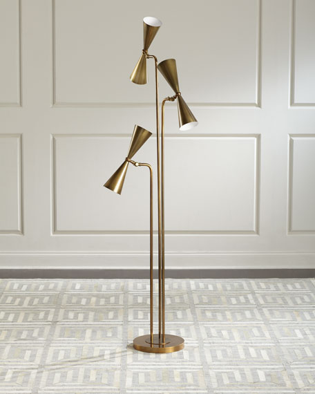 John-Richard Collection Tri-Light Mid-Century Torchiere
