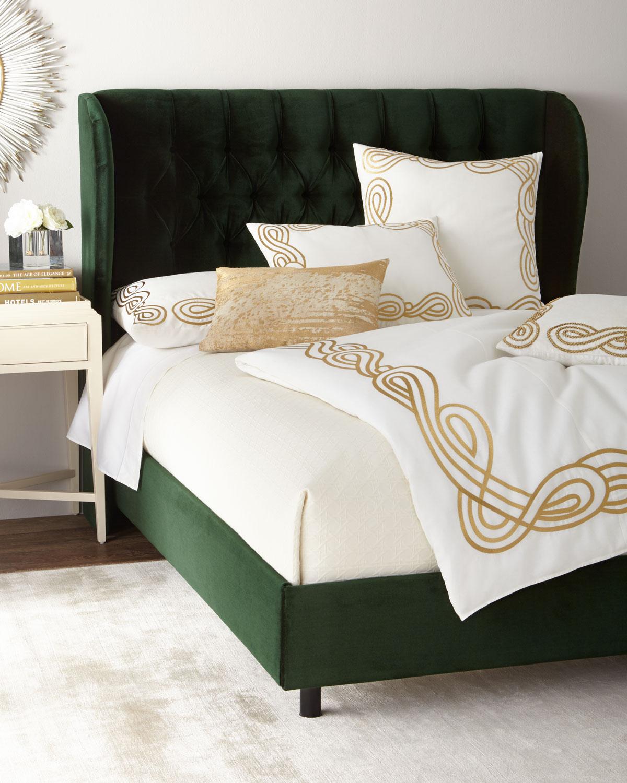 Santorini Tufted Wingback California King Bed | Neiman Marcus