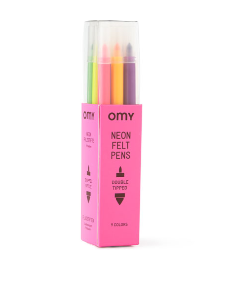 OMY Fluorescent Colored Markers, Set of 9