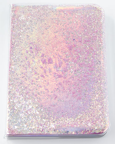 Star and Moons Glitter Notebook, Pink/Silver
