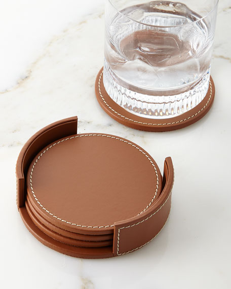 Ralph Lauren Home Wyatt Leather Coasters, Set of