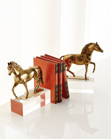 John-Richard Collection Thoroughbreds on Crystal Bookends, Set of