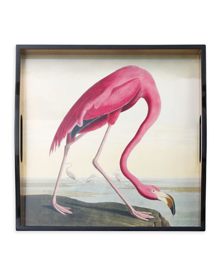 Caspari Audubon Birds Flamingo Tray